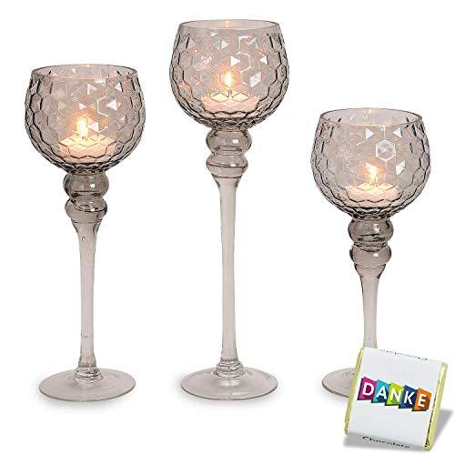 3 teiliges Glaskelch Windlicht Set | Kelche WABEN Struktur Top Design | Kerzenhalter auf Standfuß | 1A Geschenkidee | Kerzenständer im Set | Kerzenleuchter Höhe: 40, 35 & 30cm stylisch GRAU