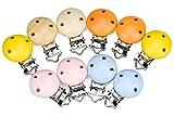 Demason 10 Stücke Schnuller Clip, Mehrfarbig Schnullerclips aus Holz Baby Clip, Metall Nuckelclip Säugling Schnuller Verschlüsse Halter für Schnullerkette
