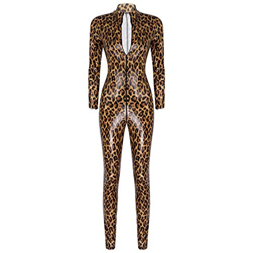 Alvivi Damen Jumpsuit Wetlook Leopard Body Ouvert Hose Leder-Optik Catsuit Overall Ganzkörperanzug Tight Leggings Pants Party Clubwear Braun M
