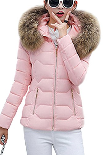 YMING Damen Winter Kurz Mantel Gefüttert Skijacke Winter Parka Warm Steppjacke Skijacke mit Kapuze Rosa-B XL