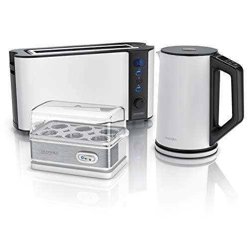 Arendo - Edelstahl Wasserkocher mit Temperaturauswahl + Edelstahl Toaster Langschlitz 2 Scheiben mit Brötchaufsatz + 6 fach Eierkocher - Wasserkocher im Doppelwanddesign - Küchen Set - weiß matt