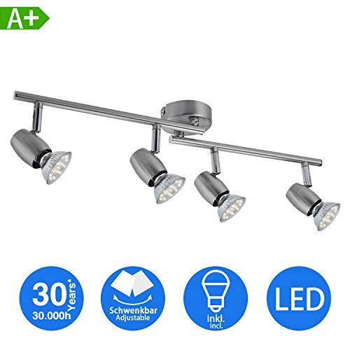 LED Deckenstrahler 4- Flammig, Dreh- und schwenkbar LED Deckenleuchte, inkl. 4 x 3W GU10 LED Leuchtmittel, 250LM,Warmweiß,Modern LED Strahler Deckenlampe - Matte Nickel [Energieklasse A+]