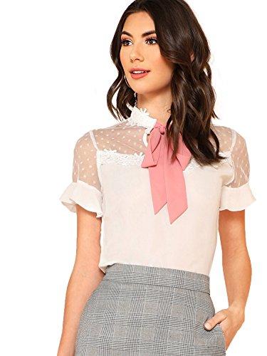 Floerns Women's Short Sleeve Tie Neck Mesh Patchwork Chiffon Blouse A White M