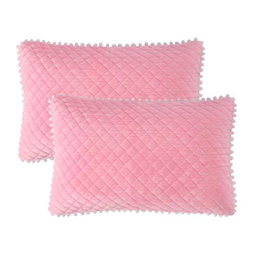 LIFEREVO 2 Pack Diamond Quilted Crystal Velvet Mink Pillowcases Pompoms Fringe Zipper Closure (Standard/Queen Pink)