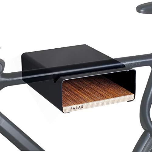 PARAX Fahrrad-Wandhalterung/Wandhalter Fahrrad/Made in Germany - S-RACK in SCHWARZ passend für Rennrad Hardtail Cityrad Tourenrad - verschiedene Regalböden