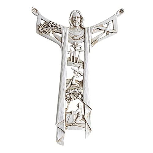 Fanmusic Cristo Ressuscitado Igreja Parede Cruz Jesus Casa Estatueta Relíquias Quarto Decoração para Casa