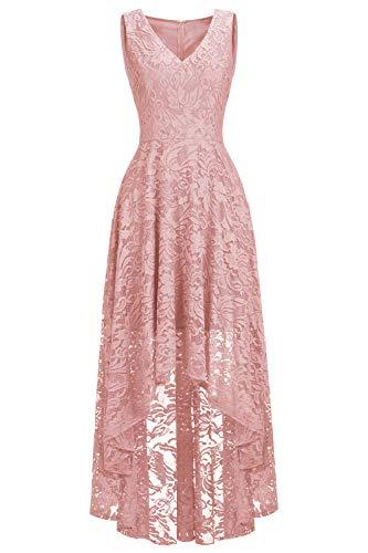 Babyonlinedress® Spitzenkleid V-Ausschnitt Kurz Ärmel Vintage Partykleid High Low Festlich Abendkleid Brautjungfern Kleid Altrosa 48