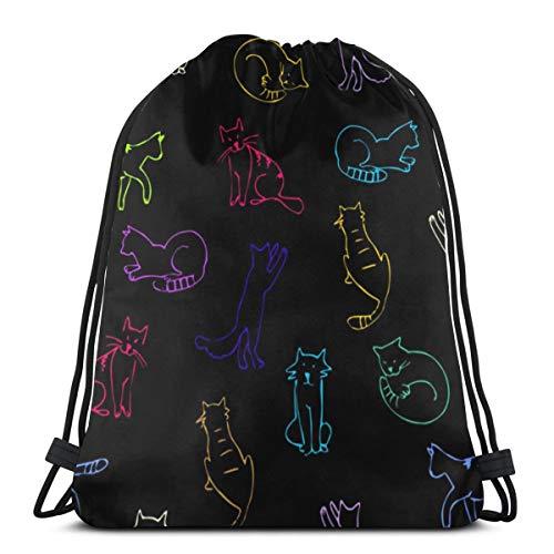Risating Tasche mit Kordelzug, zum Spielen von Katzen, zum Zeichnen, Turnbeutel, Alltagsrucksack, langlebig, für Sport, Schule, Reisen, Schwimmen, für Damen, Herren, Teenager