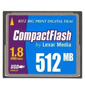 Lexar Ritz Big Print 512MB Digital Film CompactFlash Card