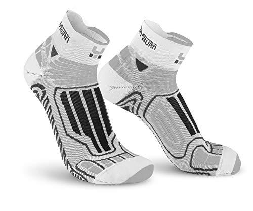 Oxyburn Running Half-Cut Dry-Tech Carbon XL Chaussettes Homme, Blanc/argenté, Size 45/47