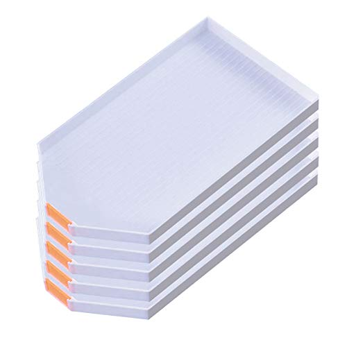 Zariocy 5 Pack Plastic Bead Sorting Tray Diamond Painting Cross Stitch Nail Tool Accessories Large Diamond Rhinestone Plate Tray, for DIY Beginner Crafts 16 X 8.9cm/6.3 X 3.5 Inches (White)