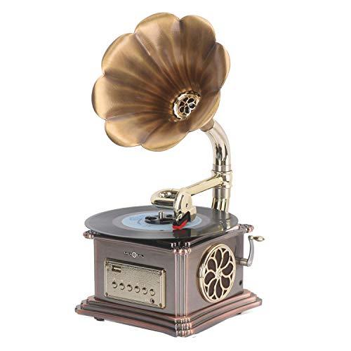 YLLYI Plattenspieler Vinyl Plattenspieler Phonograph Retro Bluetooth Lautsprecher Radio Vinyl Spieler Geschenk Audioausgang