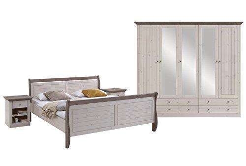 Steens Monaco Schlafzimmer, Kiefer massiv, 4-teiliges Set, Bett, Kleiderschrank und Nachtkommode, Ligefläche 180 x 200 cm, Kiefer massiv, weiß grau