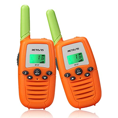 Retevis RT37 Walkie Talkies for Kids,22 CH Colorful Toy Walkie Talkies for Boys Girls Aged 6-12,LED Flashlight,Long Range,Family Party,Outdoor Camping(Orange,2 Pack)