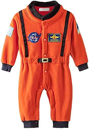 Bilo Design Baby Toddler Boy Orange Astronaut Fleece Costume Jumpsuit Cosplay Party Halloween Baby Boy Clothes, 2-3 Years