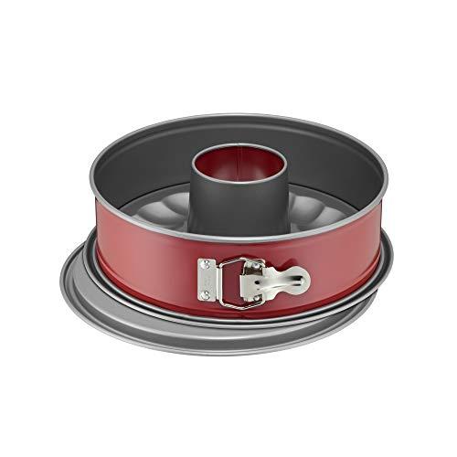 Kaiser Classic Plus Springform 26 cm mit Flach- und Rohrboden, 2 Böden, runde Backform, auslaufsicher, antihaftbeschichtet, rot