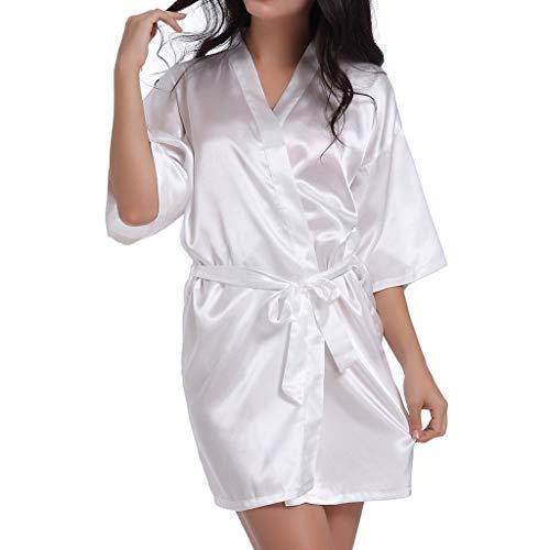 Mujeres Novia Pijamas Satén Kimono Novia Ropa de Dormir Boda Regalo de Dama de Honor Camisón Madre Hermana de la Novia Albornoz Suave Ropa de Dormir Sexy (2XL, Blanco)