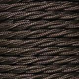 Cable eléctrico vintage trenzado decorativo. Bobina de 5 metros de 2 núcleos x 1,5 mm de sección en color marrón.