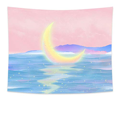 女の子の月の夜のタペストリーの壁掛けピンクのタペストリー月のタペストリー??自由奔放に生きる装飾壁の布のタペストリーカーペット150X200CM