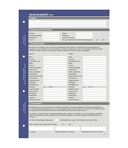 Selbstauskunft Mieter, Fragebogen für Vermietung von Wohnung und Haus (5er Set)