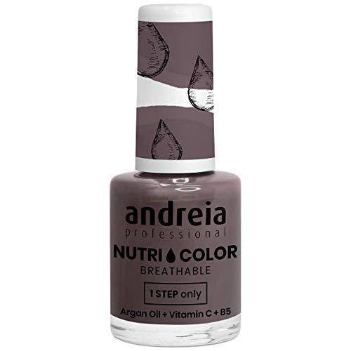 Andreia Professional NutriColor - Atmungsaktiver veganer Nagellack - Farbe NC25 Dunkelgrau - 10,5 ml
