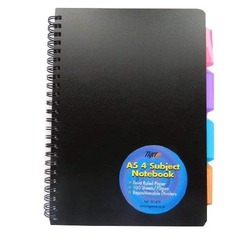 Cuaderno con espiral (A5, recubierto de PVC), color negro
