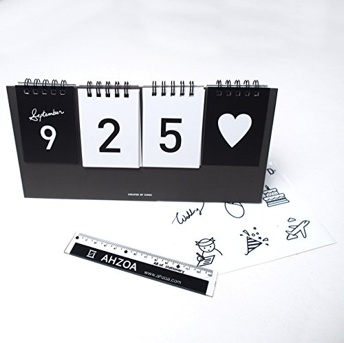 I D Day Calendar with AHZOA Mini Ruler, Countdown Standing Desk Calendar