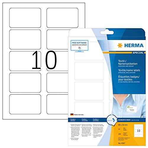 HERMA 4587 Namensetiketten DIN A4 ablösbar (80 x 50 mm, 10 Blatt, Acetatseide) selbstklebend, bedruckbar, rückstandsfrei abziehbare Namensaufkleber, 100 Klebeetiketten, weiß