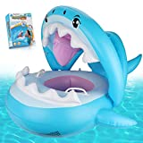 Baby Pool Float Swimming Float with Canopy Inflatable Floatie Swim Ring for Kids Aged 9-36 Months (Blue)