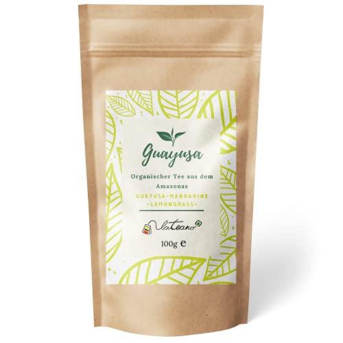 Lateano – Guayusa Tee lose organisch mit Lemongrass und Mandarine 100g – Energy Tea aus dem Amazonas für mehr Konzentration, Ausdauer & Leistung – die natürliche Alternative zu Kaffee