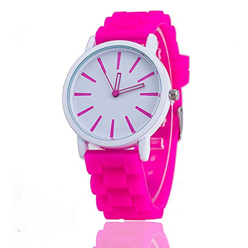 Damen-Armbanduhr Classic Gel Kristall Silikon Jelly Watch Rose + White Face