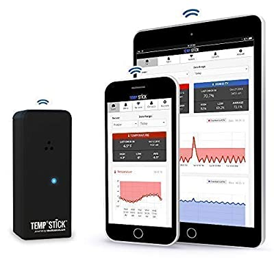 Temp Stick Wireless Remote Temperature & Humidity Sensor. Connects Directly to WiFi. Free 24/7 Monitoring, Alerts & Historical Data. Free iPhone/Android Apps, Monitor from Anywhere, Anytime! -Black