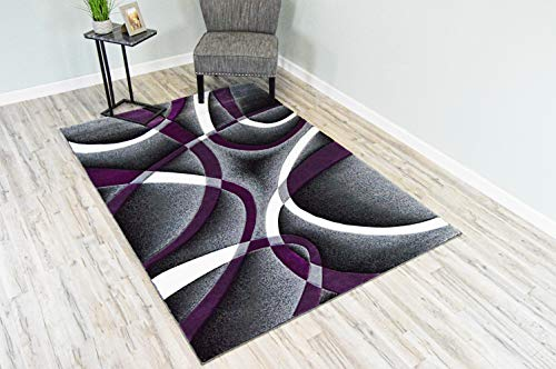 3D Effect Hand Carved Purple and Grey Luxury Carpet