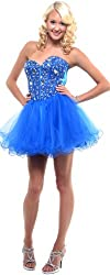 Royal Blue Strapless Cocktail Party Short Mirror Prom Dress