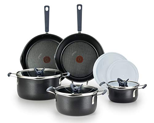 T-fal One Stackables Titanium Nonstick 10 Pieces Cookware Set, Multifunctional, Dishwasher Safe, Black