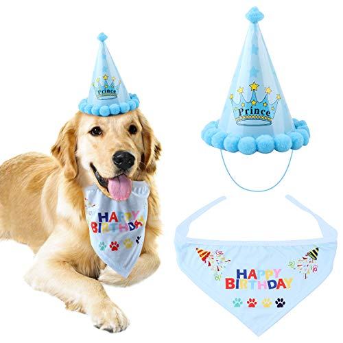 NATUCE Geburtstag Bandana Hund Birthday Bandana-Schals und niedlichen Partyhut für Hunde Pet Geburtstag Geschenk Dekorationen Set für Kleine, Mittelgroße und Große Hunde Katzen (Blau)