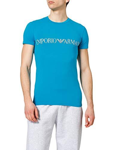 Emporio Armani Underwear T-Shirt Megalogo Camiseta, Azul (Ocean), XL para Hombre