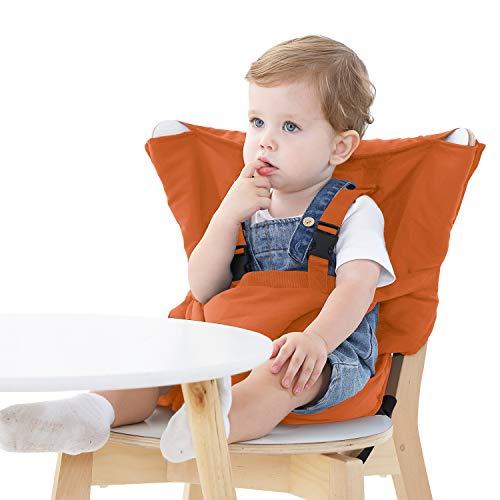 Seggiolone per neonati viaggio mobile seggiolone per bambini cintura di sicurezza/sedia da pranzo/borsa per bambini pieghevole e portatile (arancione)