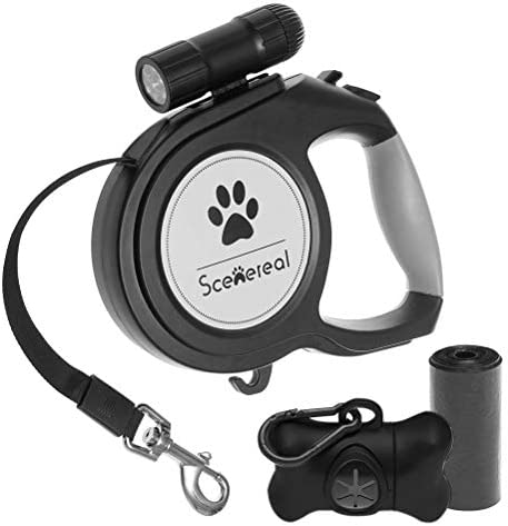 Scenereal Extendable dog lead – 26 FT Retractable Dog Lead – Heavy Duty Lead with LED Flash Light & Poop Bag Dispenser for up to 110 LB Medium Large Dogs Outdoor Walking & Training