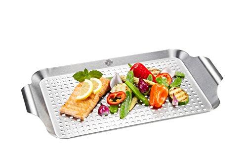 GEFU GE89258 Plat Cuisson Légumes Barbecue Acier Inoxydable Inox 43 x 25 x 3 cm 43 x 25 cm