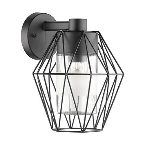 EGLO Lámpara de pared para exteriores Canove, 1 foco, lámpara de pared de acero, color negro, cristal transparente, casquillo: E27, IP44