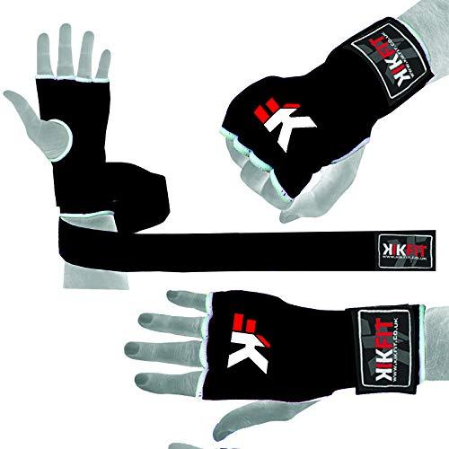 KIKFIT Schwarze Innenboxhandschuhe aus Gel für MMA, Faust, Knöchelschutz, Muay Thai, Bandagen, Boxsack, Sparring, Training, unter Handschuhen, Kampfsport, Grappling, UFC-Handschuhe (L/XL)