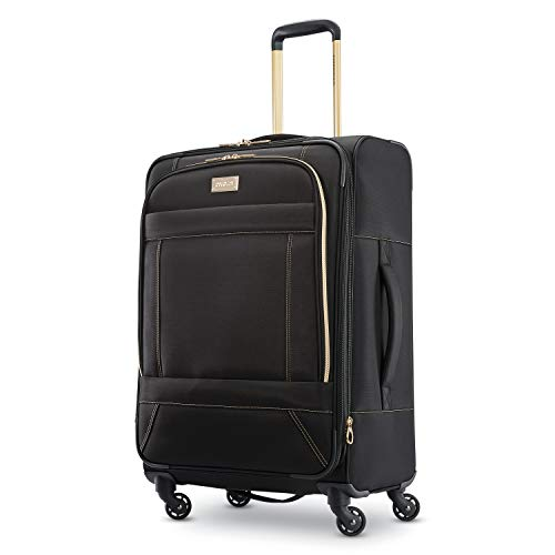 American Tourister Belle Voyage Softside Luggage with Spinner Wheels, Black, Checked-Medium 25-Inch