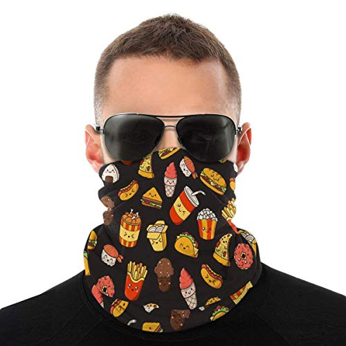 Tonesum Unisex Neck Gaiter,Women Headwear,Wind Proof Face Scarf,Sun Dust Face Bandana,Multifunctional Headbands Cute Hotdog Backpacks Pizza Taco