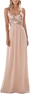 Women's Sequined Sweetheart Backless Long Chiffon Prom Bridesmaid Dresses