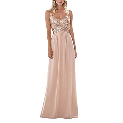 c74c29ca018 Firose Women s Sequined Sweetheart Backless Long Chiffon Bridesmaid Dresses