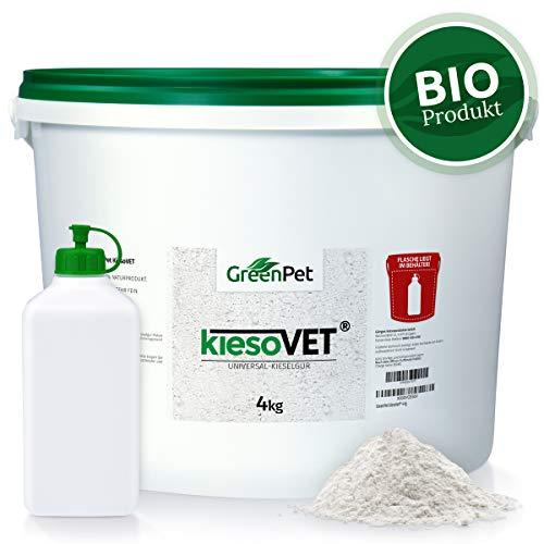 GreenPet KiesoVet 4kg Eimer | Reine biologische Kieselgur inkl. Stäubeflasche im Eimer | Diatomeenerde Bio Produkt für Hühnerställe