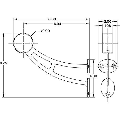 """KegWorks Bar Mount Foot Rail Bracket - Brushed Stainless Steel - For 2"""" Outside Diameter Bar Foot Rail Tubing"""