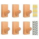 壁掛けフック 木製フック ブナ ウォール 収納フック ハンガー 装飾用壁フック 帽子掛け 洋服掛け コート掛け 玄関 寝室6個セット (ブナ)