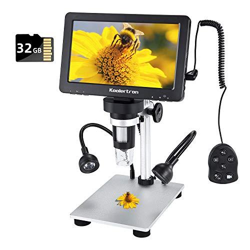 7 Zoll LCD Digital USB Mikroskop mit Verdrahtete Fernbedienung 32G TF Karte,Koolertron 12MP 1-1200X Vergrößerung Kamera-Videorecorder,8 LED Füllleuchten,Wiederaufladbare Batterie für Löt PCB Münzen